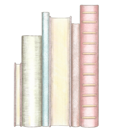 A stack of several standing books isolated on white background. Watercolor and lead pencil graphic hand drawn illustration