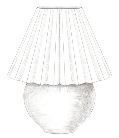 Classic table lamp with lampshade isolated on white background. Lead pencil graphic hand drawn illustration Stockfoto - 125606040