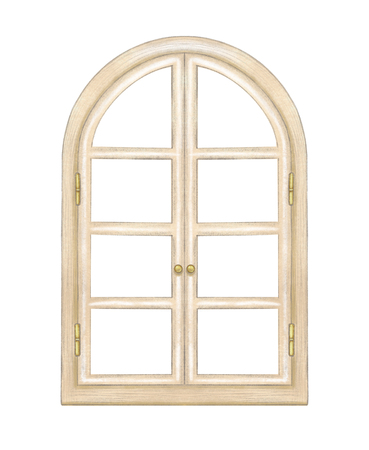 Classic beige wooden arch window with bronze fittings isolated on white background. Watercolor and lead pencil graphic hand drawn illustration Stockfoto