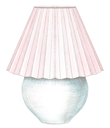 Classic table lamp with pink lampshade isolated on white background. Watercolor and lead pencil graphic hand drawn illustration Stockfoto - 125933070