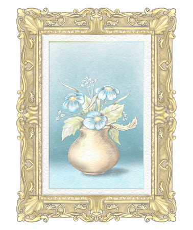 Easy sketch of portrait of a vase with flowers in golden rectangular frame. Watercolor and lead pencil graphic hand drawn illustration