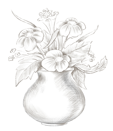 Sketch of vase with flowers isolated on white background. Lead pencil graphic hand drawn illustration Reklamní fotografie