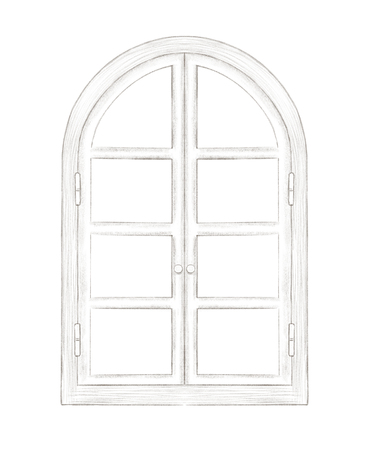 Sketch of classic arch window with fittings isolated on white background. Lead pencil graphic hand drawn illustration