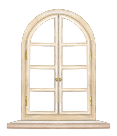 Classic wooden arch window with bronze fittings and window sill isolated on white background. Watercolor and lead pencil graphic hand drawn illustration Stockfoto