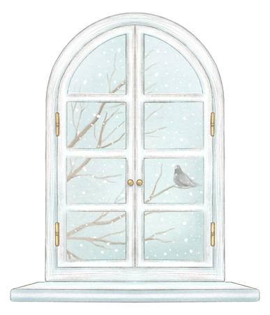 Classic white arch window with winter landscape with bare tree branches, snowflakes and lonely dove isolated on white background. Watercolor and lead pencil graphic hand drawn illustration