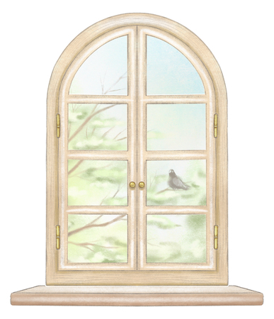 Classic wooden arch window with summer landscape with tree branches and lonely dove isolated on white background. Watercolor and lead pencil graphic hand drawn illustration
