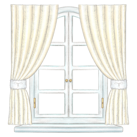 Classic white wooden arch window with bronze fittings,yellow curtains and window sill isolated on white background. Watercolor and lead pencil graphic hand drawn illustration