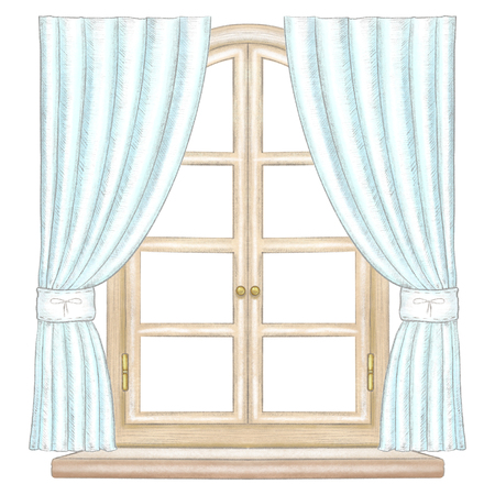 Classic wooden arch window with bronze fittings,blue curtains and window sill isolated on white background. Watercolor and lead pencil graphic hand drawn illustration Stockfoto