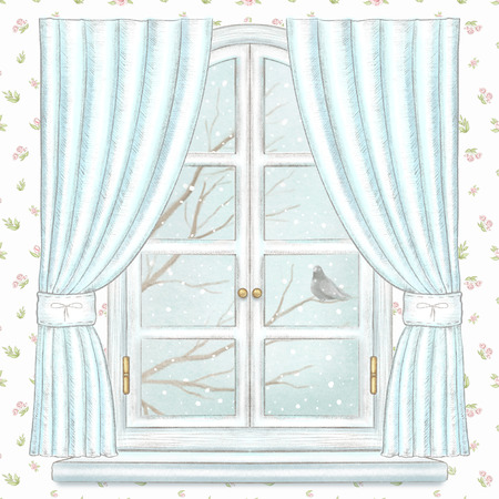 Classic white arch window with blue curtains and winter landscape with branches, snowflakes and lonely dove on floral wallpaper background. Watercolor and lead pencil graphic hand drawn illustration Stock Photo