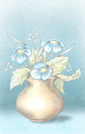 Sketch of vase with blue flowers on blue background. Watercolor and pastel graphic hand drawn illustration