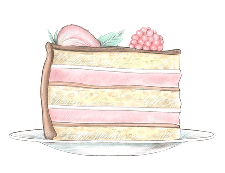 Sketch of piece of cake with berries on a plate isolated on white background. Watercolor and lead pencil graphic hand drawn illustration