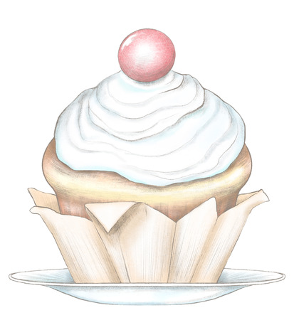 Sketch of cupcake on a plate isolated on white background. Watercolor and lead pencil graphic hand drawn illustration