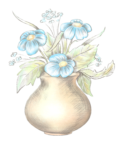 Sketch of vase with blue flowers isolated on white background. Watercolor and lead pencil graphic hand drawn illustration