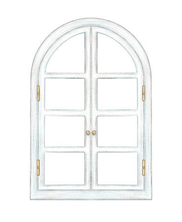 Classic white wooden arch window with bronze fittings isolated on white background. Watercolor and lead pencil graphic hand drawn illustration