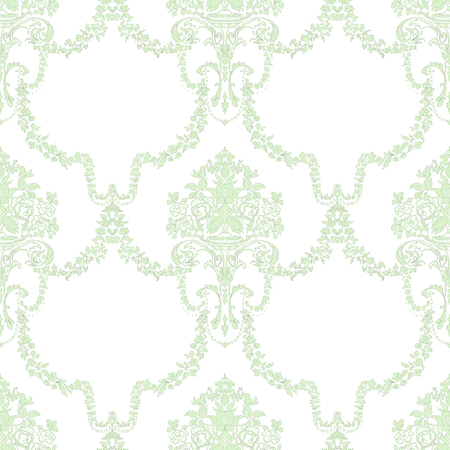 Vintage seamless pattern with green classic ornament decor on white background. Hand drawn illustration Reklamní fotografie
