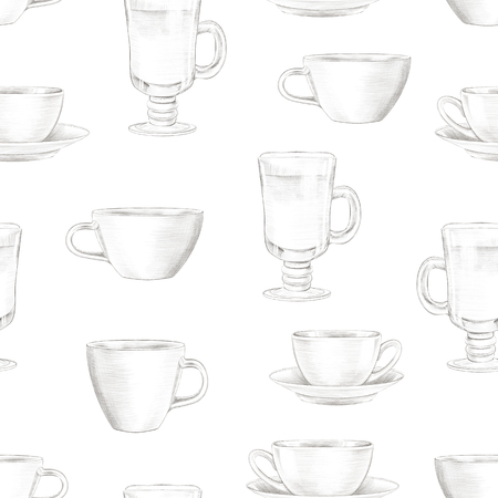 Vintage seamless pattern with various mugs on white background. Lead pencil graphic hand drawn illustration