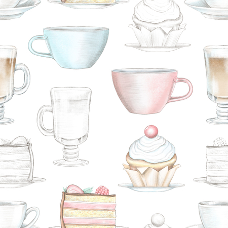 Vintage seamless pattern with various mugs and cakes on white background. Watercolor and lead pencil graphic hand drawn illustration