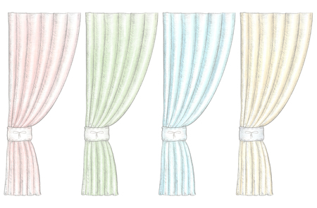 Set of four classic different color curtains isolated on white background. Watercolor and lead pencil graphic hand drawn illustration