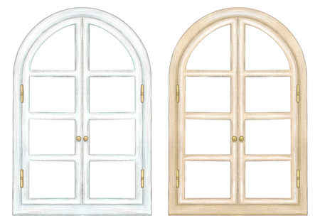 Set of two classic arch windows with bronze fittings isolated on white background. Watercolor and lead pencil graphic hand drawn illustration