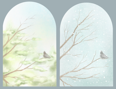 Set of easy sketches of summer and winter landscapes with tree branches and lonely dove. Watercolor and pastel hand drawn illustration Banque d'images - 125973110
