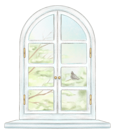 Classic white arch window with summer landscape with tree branches and lonely dove isolated on white background. Watercolor and lead pencil graphic hand drawn illustration Banque d'images - 125973111