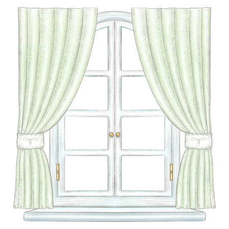 Classic white wooden arch window with bronze fittings, green curtains and window sill isolated on white background. Watercolor and lead pencil graphic hand drawn illustration