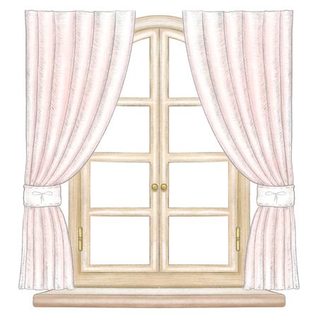 Classic wooden arch window with bronze fittings, rose curtains and window sill isolated on white background. Watercolor and lead pencil graphic hand drawn illustration