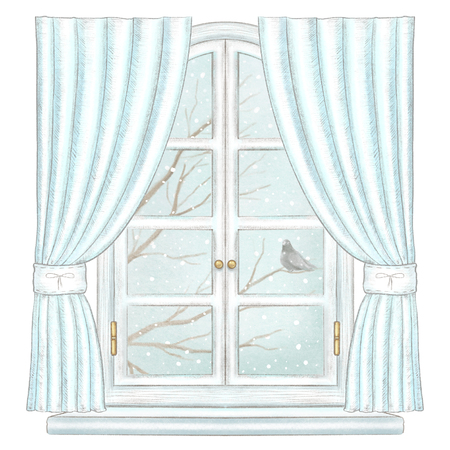 Classic white arch window with blue curtains and winter landscape with bare tree branches, snowflakes and lonely dove isolated on white background. Watercolor and lead pencil graphic hand drawn illustration Stock Photo