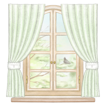 Classic wooden arch window with green curtains and summer landscape with tree branches and lonely dove isolated on white background. Watercolor and lead pencil graphic hand drawn illustration Stock Illustration - 125973116