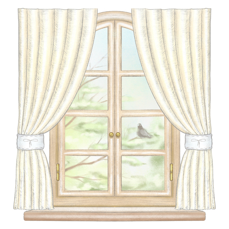 Classic wooden arch window with yellow curtains and summer landscape with tree branches and lonely dove isolated on white background. Watercolor and lead pencil graphic hand drawn illustration Stock Photo