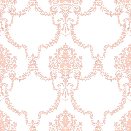 Vintage seamless pattern with pink classic ornament decor on white background. Hand drawn illustration