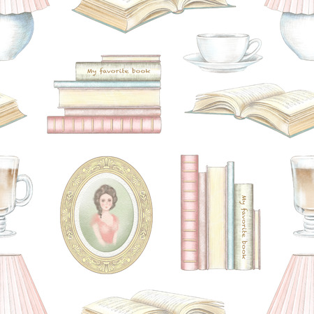 Vintage seamless pattern with hot drinks, portrait, books and desk lamp isolated on white background. Watercolor and lead pencil graphic hand drawn illustration
