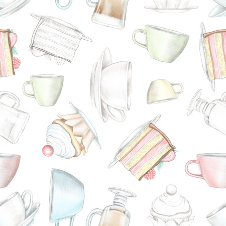 Vintage seamless pattern with various mugs and cakes isolated on white background. Watercolor and lead pencil graphic hand drawn illustration