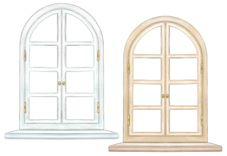 Set of two classic arch windows with bronze fittings and windowsill isolated on white background. Watercolor and lead pencil graphic hand drawn illustration