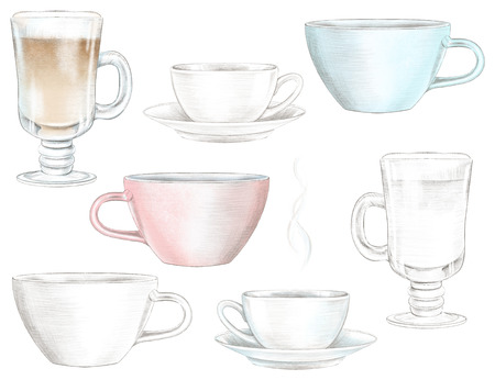 Set of seven graphic and color mugs with hot drinks isolated on white background. Watercolor and lead pencil graphic hand drawn illustration