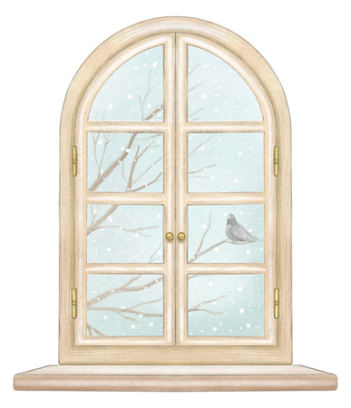 Classic wooden arch window with winter landscape with bare tree branches, snowflakes and lonely dove isolated on white background. Watercolor and lead pencil graphic hand drawn illustration Stock Photo