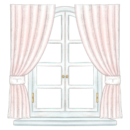 Classic white wooden arch window with bronze fittings, pink curtains and window sill isolated on white background. Watercolor and lead pencil graphic hand drawn illustration Stock Photo