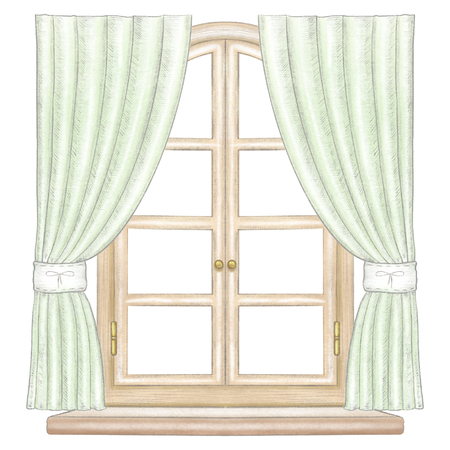 Classic wooden arch window with bronze fittings, green curtains and window sill isolated on white background. Watercolor and lead pencil graphic hand drawn illustration