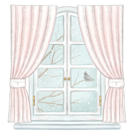 Classic white arch window with rose curtains and winter landscape with bare tree branches, snowflakes and lonely dove isolated on white background. Watercolor and lead pencil graphic hand drawn illustration