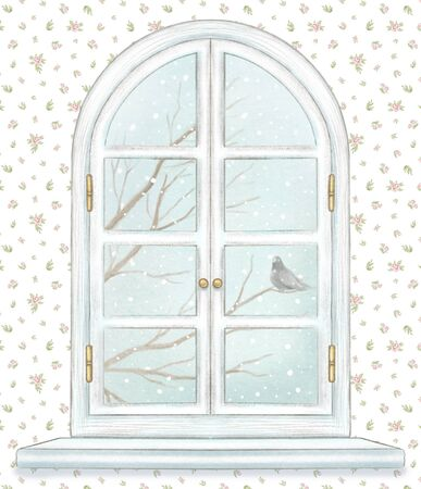 Classic white arch window with winter landscape with bare tree branches, snowflakes and lonely dove on  floral wallpaper background. Watercolor and lead pencil graphic hand drawn illustration