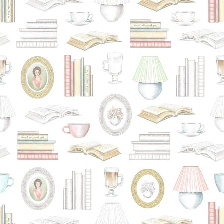 Vintage seamless pattern with hot drinks, framed paintings, books and desk lamp isolated on white background. Watercolor and lead pencil graphic hand drawn illustration Stock Photo