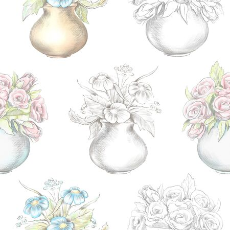 Vintage seamless pattern with flowers in vases isolated on white background. Watercolor and lead pencil graphic hand drawn illustration