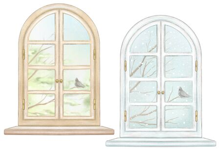 Set of two classic arch windows with bronze fittings, windowsill, summer and winter landscapes isolated on white background. Watercolor and lead pencil graphic hand drawn illustration Stock Photo