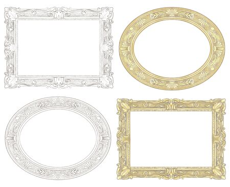 Set of four classic rectangular and oval frames isolated on white background. Watercolor and lead pencil graphic hand drawn illustration Stock Photo