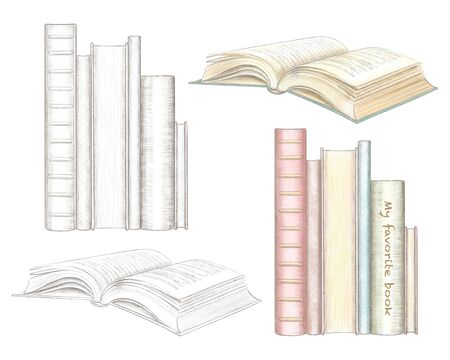 Set of various books isolated on white background. Watercolor and lead pencil graphic hand drawn illustration