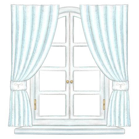 Classic white wooden arch window with bronze fittings, blue curtains and window sill isolated on white background. Watercolor and lead pencil graphic hand drawn illustration