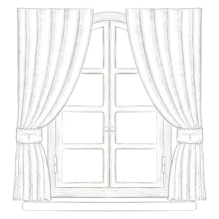 Classic arch window with fittings, curtains and window sill isolated on white background. Lead pencil graphic hand drawn illustration Stock Photo