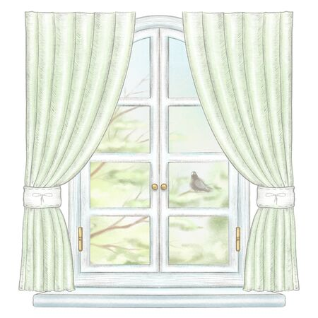Classic white arch window with green curtains and summer landscape with tree branches and lonely dove isolated on white background. Watercolor and lead pencil graphic hand drawn illustration