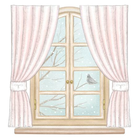 Classic wooden arch window with rose curtains and winter landscape with bare tree branches, snowflakes and lonely dove isolated on white background. Watercolor and lead pencil graphic hand drawn illustration Stock Photo