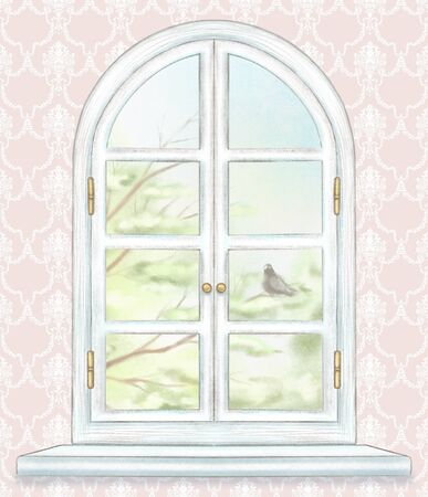 Classic white arch window with summer landscape with tree branches and lonely dove on classic pink wallpaper background. Watercolor and lead pencil graphic hand drawn illustration